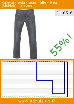Kaporal - pola - jean - fille - bleu (blublak) - 10 ans (Vêtements). Réduction de 55%! Prix actuel 31,05 €, l'ancien prix était de 69,23 €. http://www.adquisitio.fr/kaporal/pola-jean-fille-bleu-0