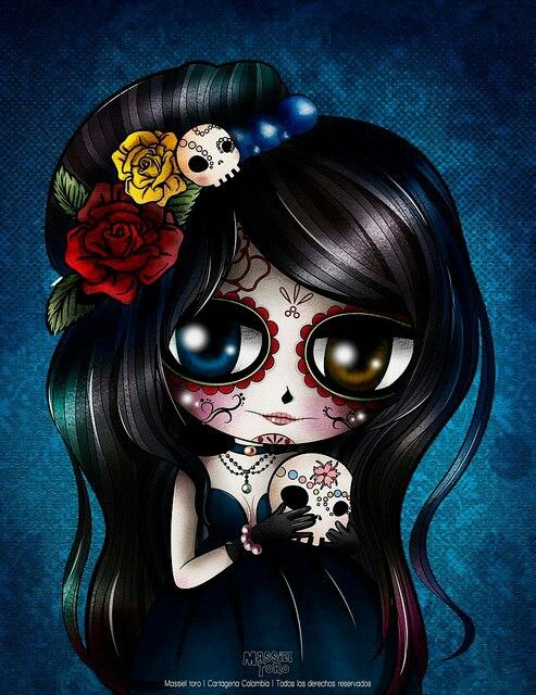 Dia de los Muertos doll painting