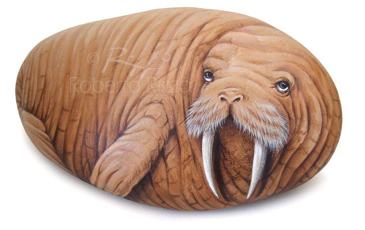 Walrus - acrylic on rock   Painted stones by Roberto Rizzo   www.robertorizzo.com