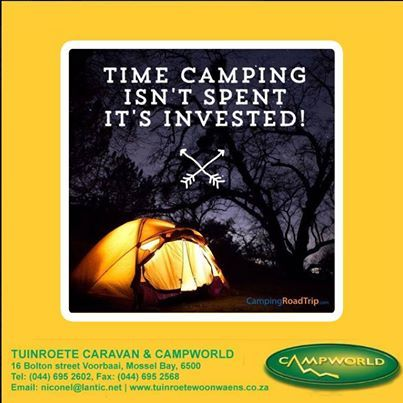 """Time camping isn't spent, it is invested. It is however time to visit Tuinroete Woonwaens Campworld MB to get the best investment during our """"Pink Dot Sale"""" Huge savings on a large variety of stock. #clearancesale #outdoors #lifestyle"""