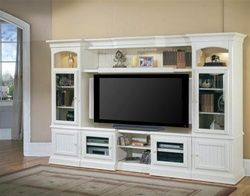 Hartford 48-72-Inch TV X-pandable Entertainment Console 4Pc Wall System in Slightly Distressed Vintage White Finish by Parker House – HAR100-4X