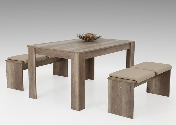 Tischgruppe Petra II Esstisch Sitzbänke Wildeiche Kissen Beige 1308. Buy now at https://www.moebel-wohnbar.de/tischgruppe-petra-ii-esstisch-sitzbaenke-wildeiche-kissen-beige-1308