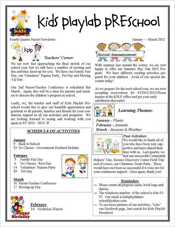 12+ Printable Preschool Newsletter Templates PDF, Docs