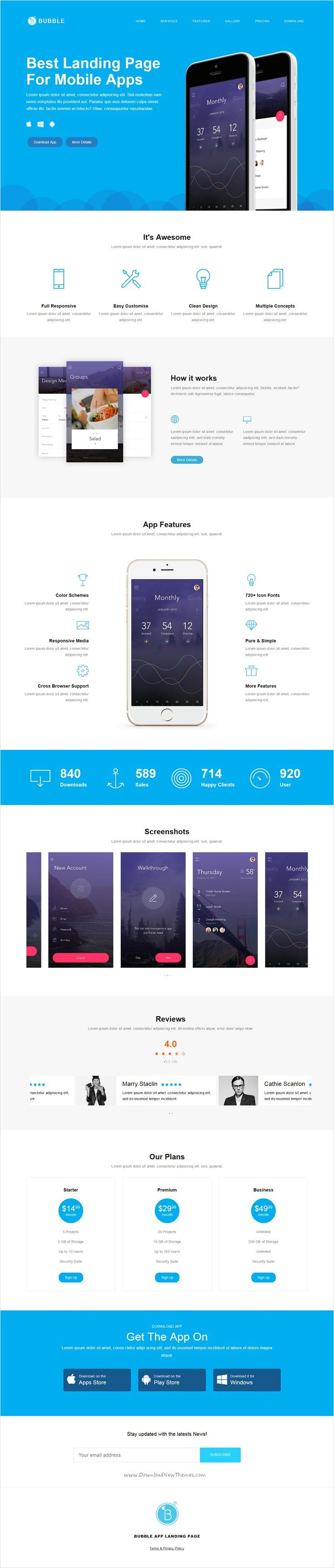 Bubble is wonderful #onepage minimal #Bootstrap landing page template for #app product showcase, startups or personal website download now➩ https://themeforest.net/item/bubble-app-landing-page-html/17296125?ref=Datasata