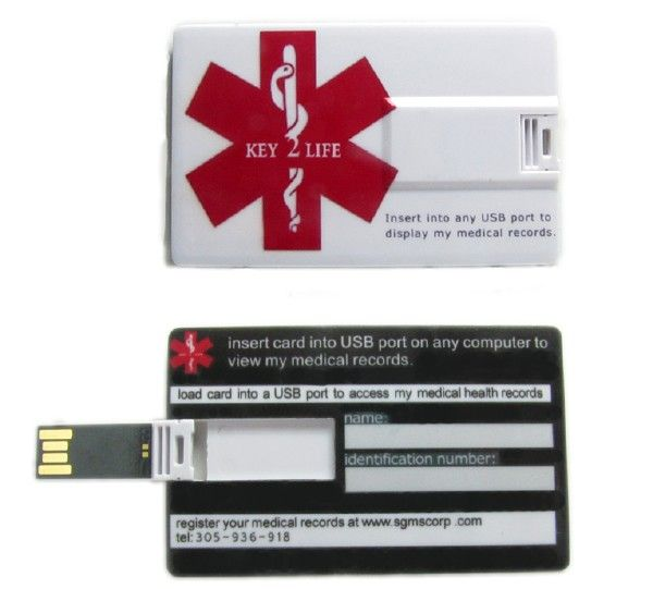 Usb medical id wallet card diabetes pinterest for Medical alert wallet card template