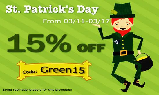 """Enjoy this St. Patrick's Day with a 15% off using promo code """"Green15"""" to get the latest automotive LED lights, LED replacement bulbs, daytime running lights, LED strip lights, knight rider scanner lights, HID conversion kit and much more from 03/11 - 03/17 only at www.iJDMTOY.com"""