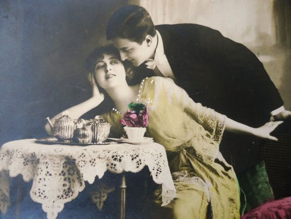Antique french postcard  Romantic couple kiss by LizKnijnenburg, €4.00