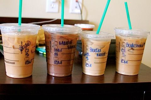 Wedding morning Starbucks! Get everyone's order in advance and have them ready for hair and makeup