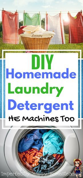Homemade Laundry Detergent. Easy to make soap that can be used in HE and traditional machines. Save money with this DIY detergent!