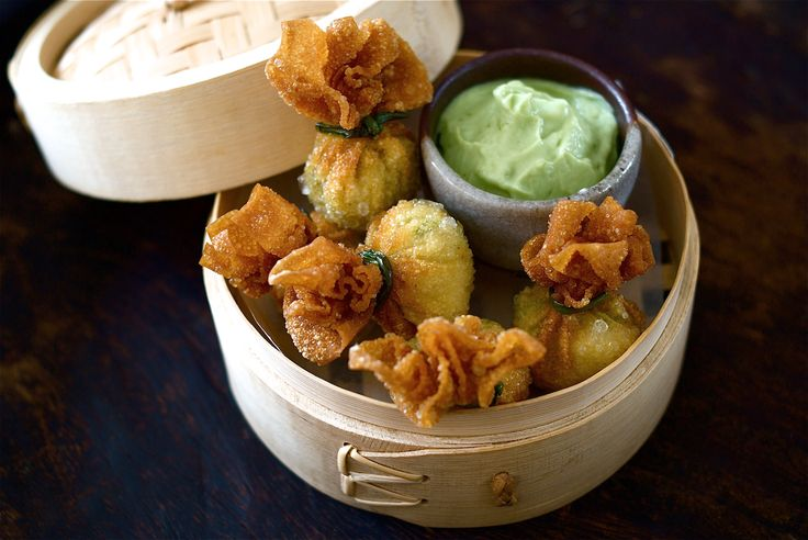 photo of Green Chilli Chicken Wontons with Avocado and Lime Dip