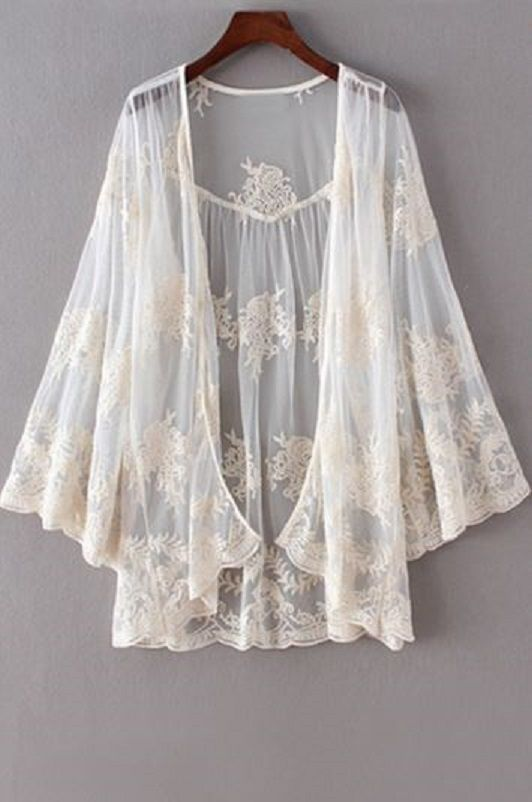 Sheer Embroidered Open Front White Lace Crochet Kimono Style Blouse Fashion