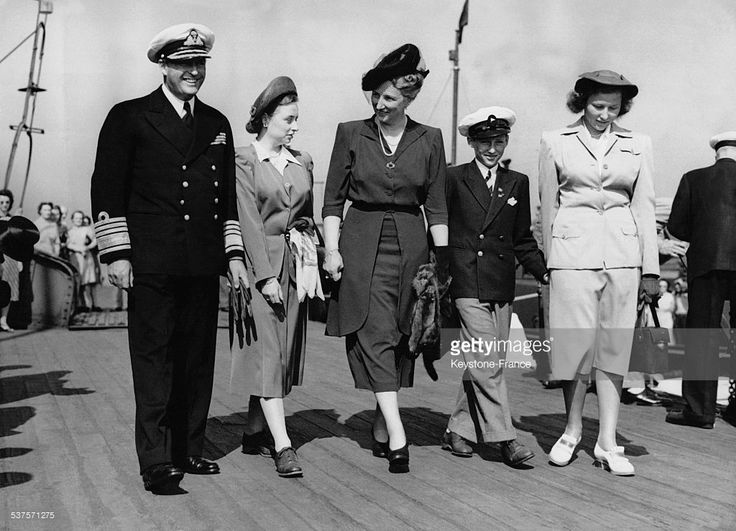 Prince Olav of Norway, Princess Ragnhild, Prince Harald, Princess Martha and Princess Astrid arrive for the opening of the Olympic Games,on July 28, 1948 in London, United Kingdom.