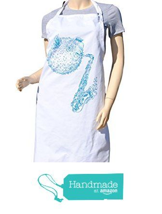 $29 FREE SHIPPING - Kitchen Apron - Baking Apron - Cute Apron - Nautical Apron - Teal Blow Fish Apron from Heaps Handworks  #handmadeatamazon  #apron #aprons #kitchenaprons #kitchenapron #bbqapron #bbqaprons #cooksapron #cooksaprons #cooks #chef #baking
