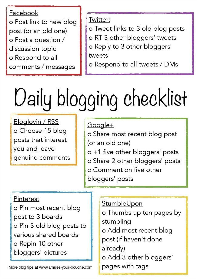 Daily blogging checklist from @Becca @ Amuse Your Bouche. Great info here! blogging tips, blogging ideas, #blog #blogger #blogtips