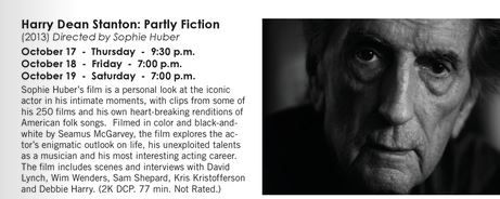 I'm going to see Harry Dean Stanton: Partly Fiction tonight at IU Cinema.  I can't wait!  LOVE HDS.  His work has moved me greatly over the years.  He's a master of presence on screen.