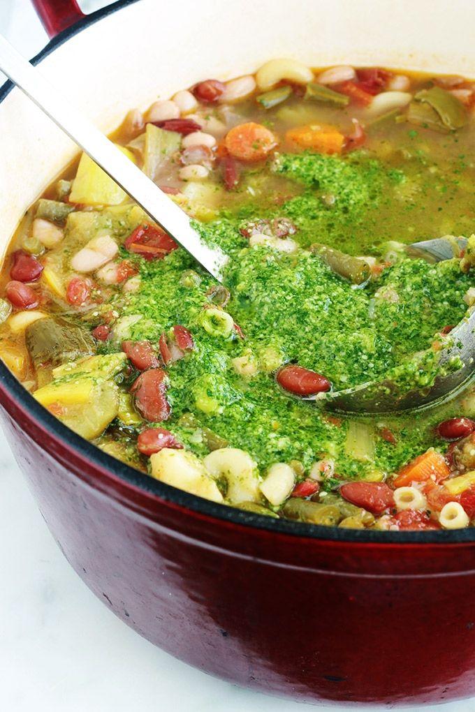 Traditionelle Pestosuppe, provenzalisches Rezept