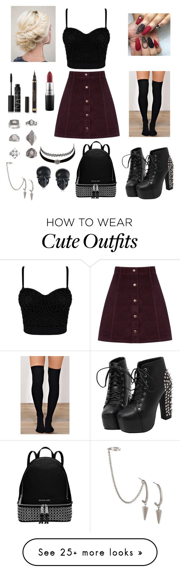 BlackRed Miniskirt Outfit by marieantionette1 on Polyvore featuring Oasis, MAC Cosmetics, NARS Cosmetics, Charlotte Russe, French Connection, Topshop, Michael Kors and Tarina Tarantino