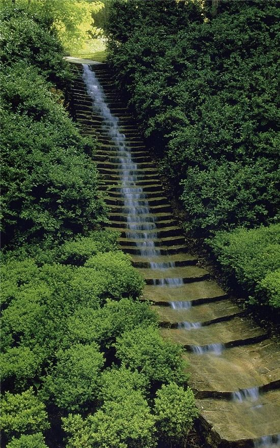 waterfall steps  (don't know who or where; image from a book by Jane Amidon)