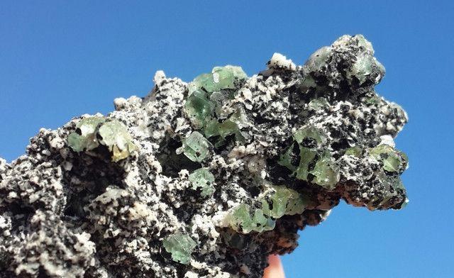 Green Fluorite Crystals with Schorl (Black Tourmaline)!
