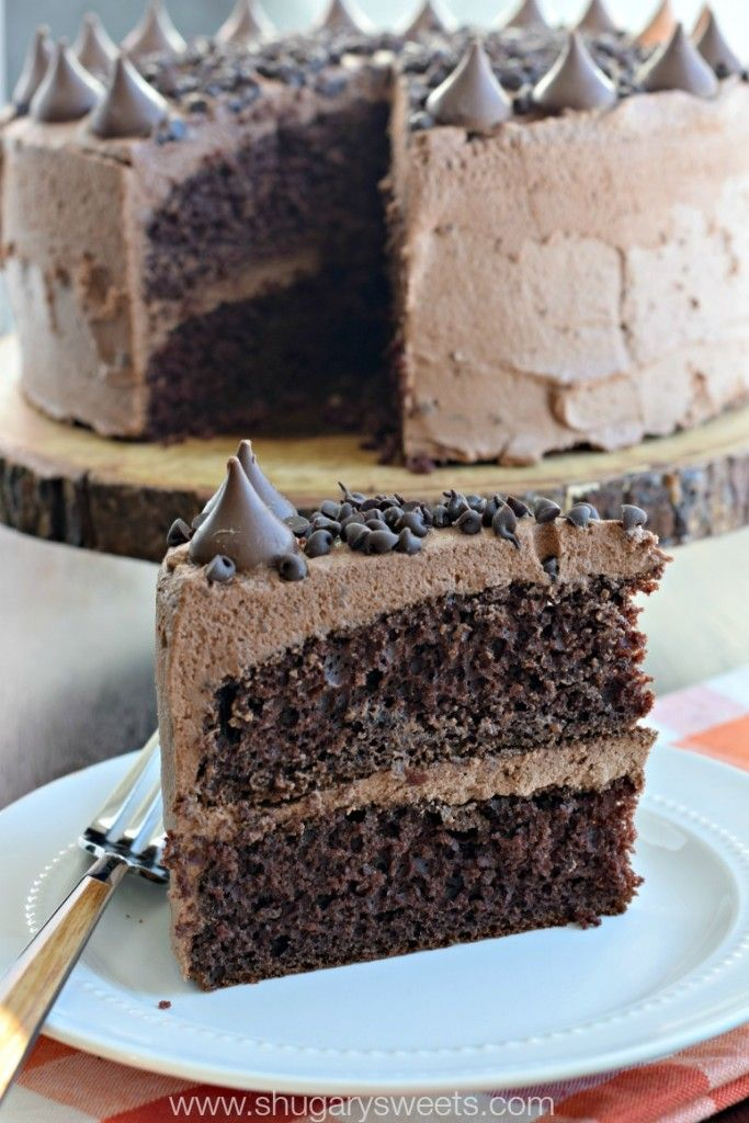 Decadent Chocolate Cake with a no-fail Whipped Chocolate Ganache frosting recipe!