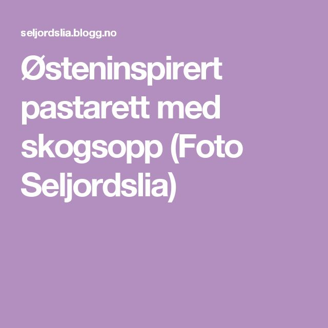 Østeninspirert pastarett med skogsopp (Foto Seljordslia)