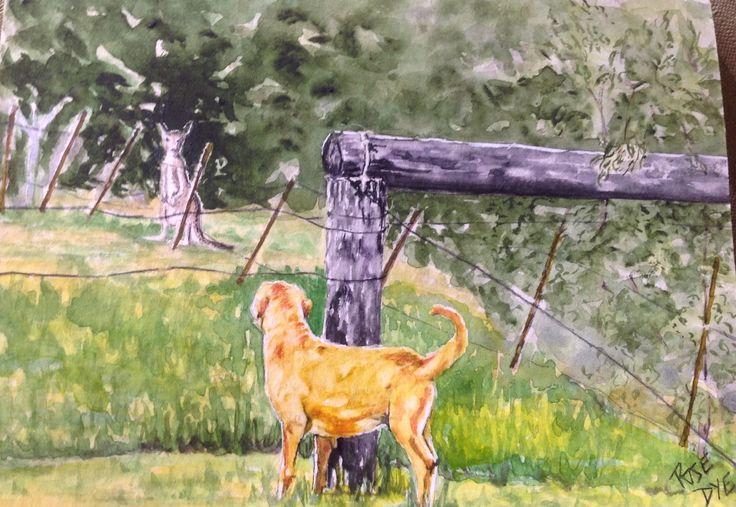 """Labrador Dog - """"Beyond the Pale"""" Watercolour"""