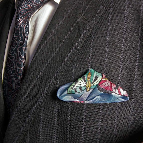 BLUE pocket square SILK Hand painted red butterflies green