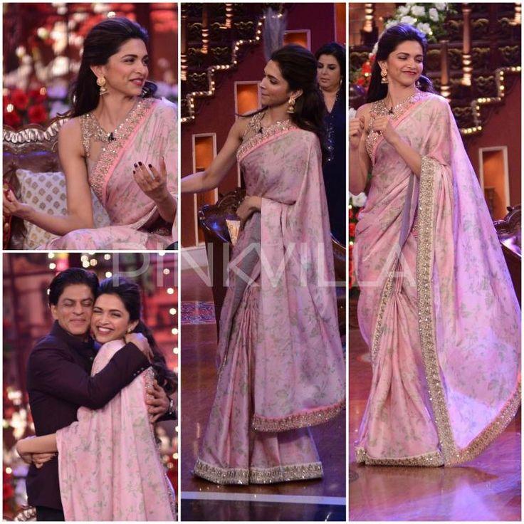 Deepika Padukone in an Anushree Reddy saree and blouse. Indian Bollywood fashion.