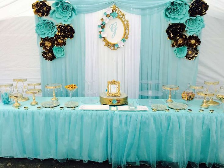Tiffany & Gold  Quinceañera Party Ideas | Photo 1 of 4 (quinceanera decorations blue)