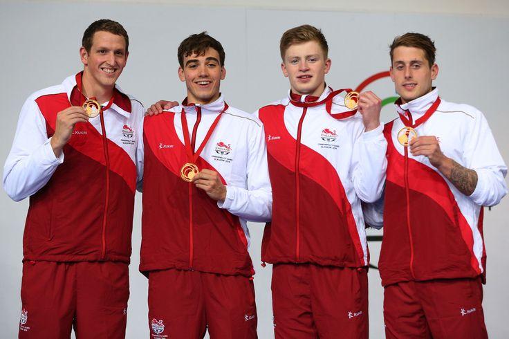 Gold medallists (L-R) Adam Brown, Adam Barrett, Adam Peaty and Chris Walker-Hebborn of England