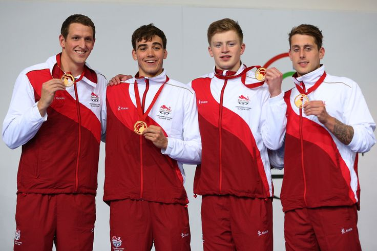 Gold medallists (L-R) Adam Brown, Adam Barrett, Adam Peaty and Chris Walker-Hebborn of England