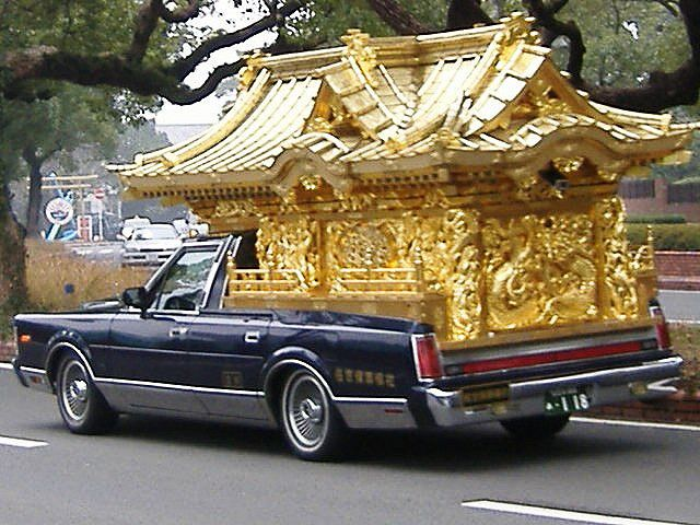 Japanese Funeral Car--In Japan, funeral cars can come in two styles: foreign style and the Japanese style. Foreign type hearses are similar in style to American funeral coaches. The Japanese type hearse on the other hand, has its rear area tailored to resemble an ornate Buddhist temple. This usually requires the rear part of the vehicle to be completely altered, where the rear roof and all the interior parts are removed.