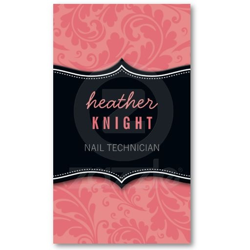 Business Card Cool Flourish Black Coral Pink A Trendy