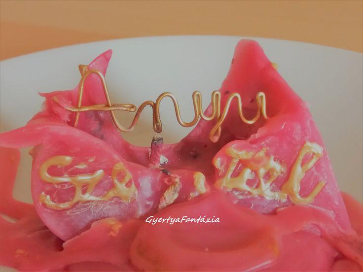 Anyák napi, üzenet gyertya Unique mother's day candle Hand made