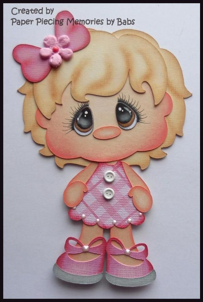 Girl Light Hair Premade Paper Piecing Die Cut for Scrapbook Page byBabs