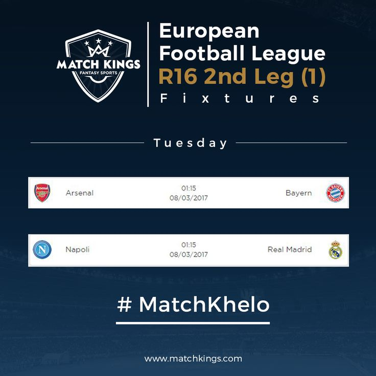 Can tournament favourites FC Bayern München and Real Madrid C.F. progress to the Quarter-Finals today? Pick your Fantasy Football teams now on www.matchkings.com and win exciting merchandise! #MatchKhelo #ARSBAY #NAPRMA #pl #fpl #fantasysoccer #soccer #fantasyfootball #football #fantasysports #sports #fplindia #fantasyfootballindia #sportsgames #gamers  #stats  #fantasy #MatchKings