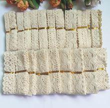 20 pcs/Piece gemengde Gebreide Katoenen Kant Lint Beige Kleur DIY Handgemaakte, Bruiloft/Craft & Gift Verpakking/kind Jurk/Decoratie(China (Mainland))