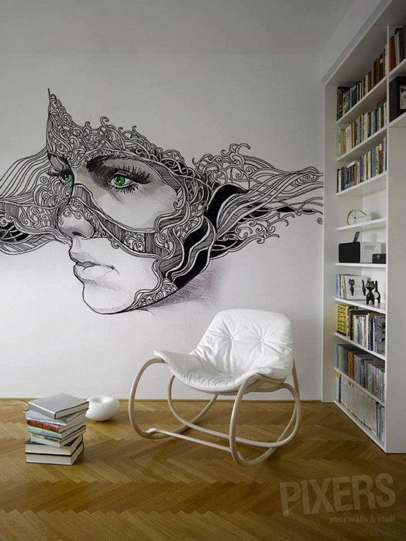 """Wall Mural """"Green Eyes"""" The mural itself not so much but the level of skill is on point.."""