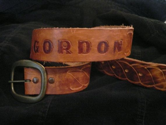 Tooled Leather BELT Personalized with GORDON Swirl by Tasteliberty, $25.00