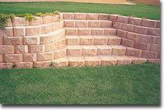 BACKYARD: Retaining wall stairs with blocks as steps