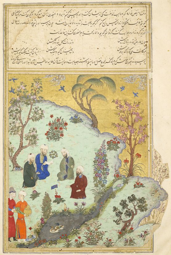 we see Ferdowsi, the figure closest to the river, in the garden of Soltan Mahmud and the court poets of Ghazni who are testing his skills. Their faces betray comic alarm, while Ferdowsi's gesture suggests exposition tempered by courtesy.