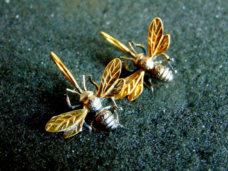 Sterling Silver Earrings, Silver 925 and Gold Plated Silver Bee Earrings, Honey Bee Jewelry,Unique Silver Earrings for Women,Gift Idea by ArchipelagosBreeze on Etsy