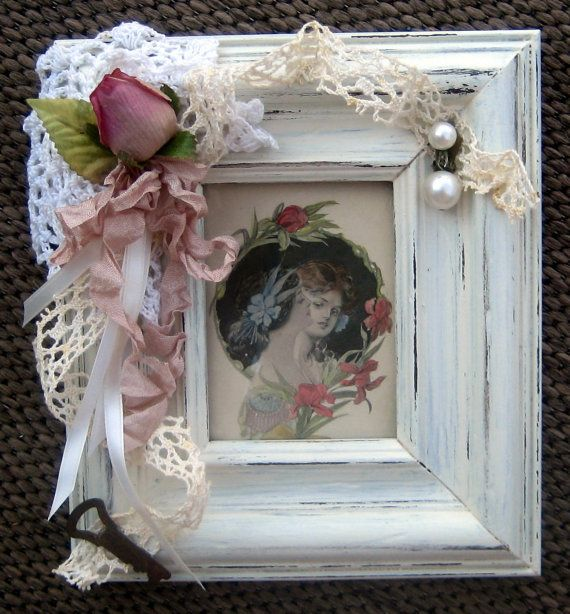 15% OFF SALE!  Vintage Shabby Chic Cottage Picture Frame With Vintage Key, Lace, Ribbon, Doily, Pearl Earring, and Pink Rosebud