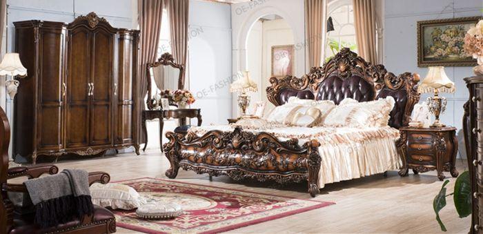 Baroque Style Luxury Bedroom Set Wood Carving Bedroom Furniture