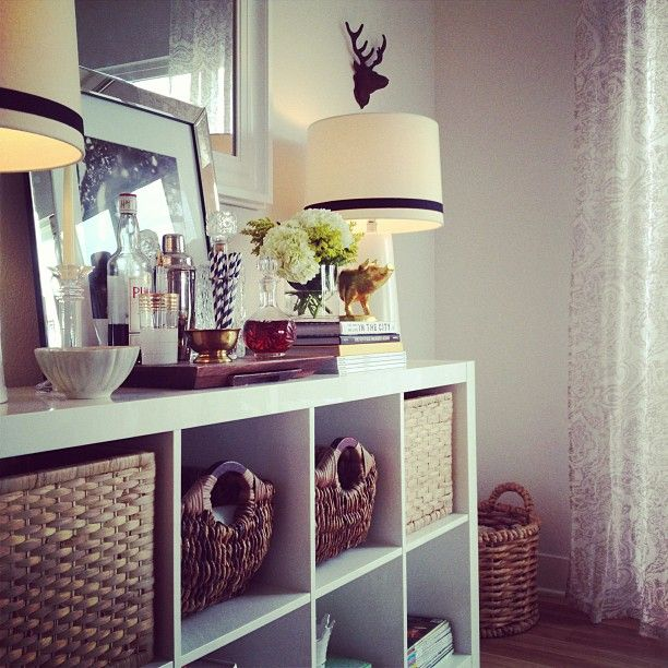 Bookcase, mirror frame, baskets! Decorating while utilizing space