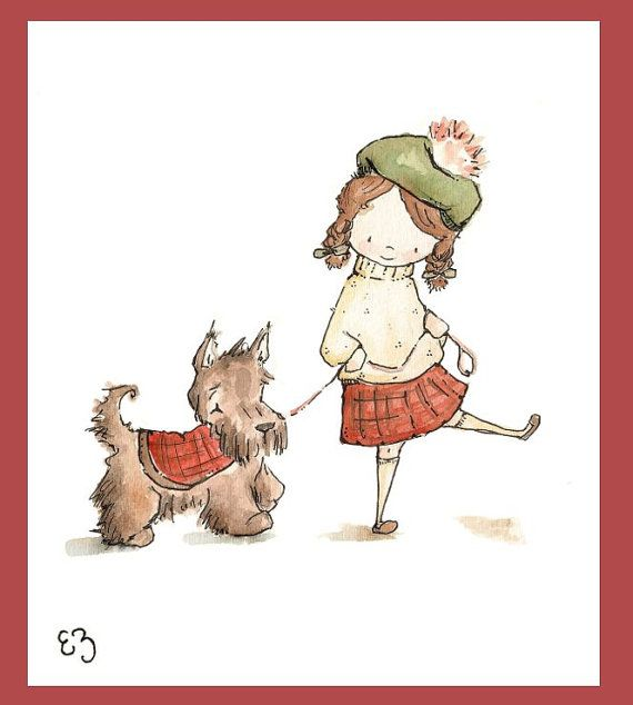 A Girl and Her Scottie Dog PRINT 8X10 Nursery Art by LoxlyHollow, $18.00