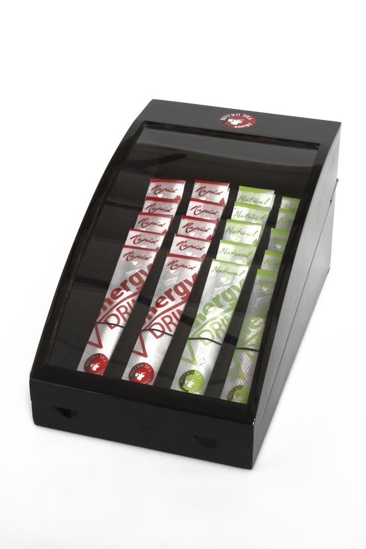 BISTROTEA caja expositora con variedades de té energetico