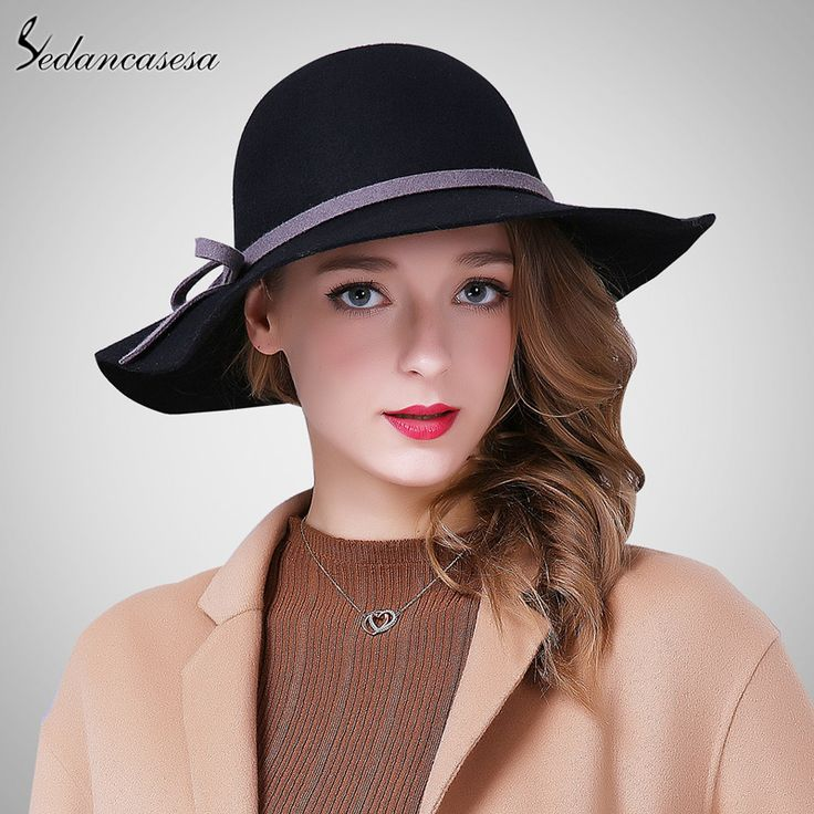 2015 Fashion New Autumn Winter Ladies Wide Brim Hats With Bow Elegant Black Trilby Hat FW012262A