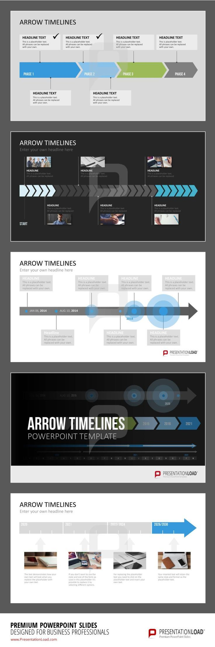 Display past and future events with our graphics and #GanttCharts in arrow shapes. Clearly organize chronological events with our #arrow #timeline graphics.