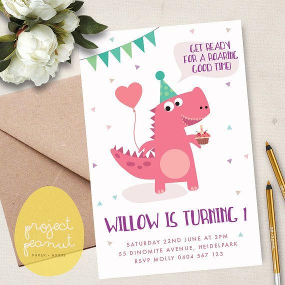 Girl Dinosaur – Dinosaur Invitation – Dinosaur Party – Pink Dinosaur – Girl Dinosaur Party – Girl 1st Birthday – First Birthday – Invitation